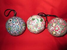 Set 3 Handmade Art Christmas Balls out of Fimo Clay Cane Ornaments Theme Unique