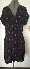 LAURA ASHLEY Black Egypian Camel Print Dress UK 12