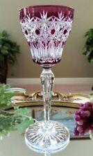 RARE Vintage VAL ST LAMBERT Van Dyke Purple Cut to Clear Crystal Wine Goblet #3