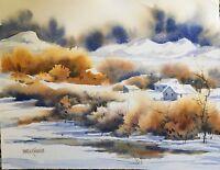 Pamela Wilhelm Original Watercolor Loose Winter homestead barn farm landscape