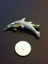 Swarovski Signed Crystal & Gold Plated Double Dolphin Brooch Pin