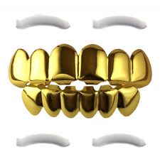 24K Gold Plated Grillz For Mouth Top Bottom Hip Hop Teeth One Size Fits All