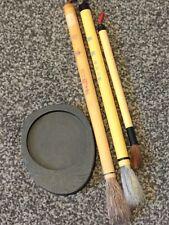 Japanese/Chinese Calligraphy  Brushes (3) & Ink Stone