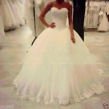 White/Ivory Tulle+lace Wedding Dress Bridal Gown Custom Size 6-8-10-12-14-16-18+