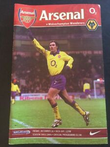 "Arsenal ""49 Unbeaten"" Home V Wolverhampton Wonderers 26/12/2003 Game 20"