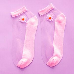 Womens Daisy Flower Lace Socks Transparent Thin Crystal Silk Short Ankle Socks