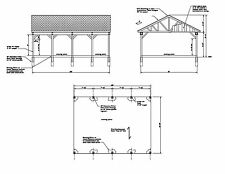 COVERED PAVILION CAR PORT RV PORT 30'X22 PLAN #17-CP2230GBL-1  30X22 RV CAR PORT