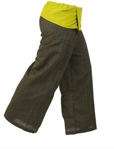 LannaPremium2 Tone Thai Fisherman Pants Men Yoga Trousers Free Size Dark Green