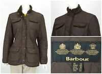 Womens Barbour Utility Winter Quilted Jacket Brown Full Zip Pockets Size UK14
