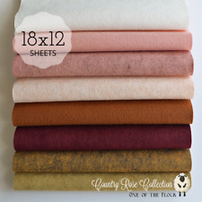 """NEW COUNTRY ROSE Felt Collection Merino Wool Blend Felt 8- 12 X 18"""" Sheets"""