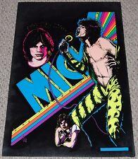 Rolling Stones Mick Jagger Collage Flocked Blacklight Poster 1975 Dynamic Pub
