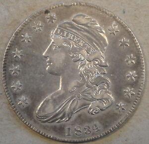 1834 Sm Date + Letters Capped Bust Half Dollar 50c O-119 R-4 XF-AU Sm Rim Bump