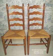 Tell City Ladderback Pair of Chairs Andover Maple Caned Reed Seat Side 2312