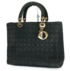 Authentic CHRISTIAN DIOR Black Quilted Nylon Lady Dior Handbag Purse #38095