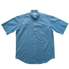 YVES SAINT LAURENT Mens Shirt Size XL Blue Casual Short Sleeve Shirt