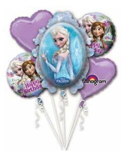 """Frozen Elsa & Anna 1 Large Supershape & 4x 18"""" Foil Mylar Balloon Bouquet"""