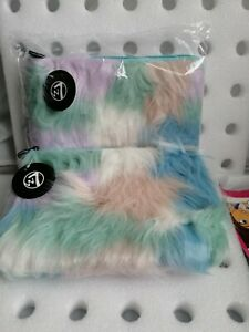 New W7 x 2 joblot Fur Make Up Bag size 10 x 7 inches apro a4 size ombre  zip