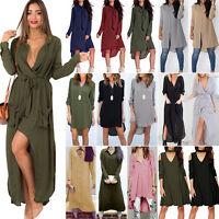 Women Long Sleeve Maxi Dress Ladies Loose Casual Tops Blouse Tunic T Shirt S-2XL