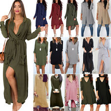 Womens Plus Size Long Sleeves Maxi Dress Summer Loose Tops Blouse Shirts Casual
