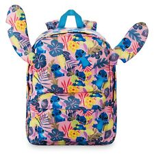 Disney Store Tropical Stitch Pink Backpack Ears Floral School Bag Lilo & Stitch