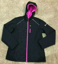 Girls Black Pink Free Country Hooded Softshell Jacket 10/12