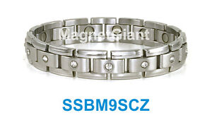 Cubic Zirconia + Magnetic Silver Men's stainless steel link bracelet 316L
