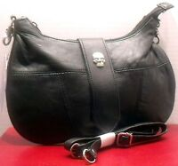 Skull Accent Hip Belt Loop Purse Leather Shoulder Strap Cross Body Style Bag New