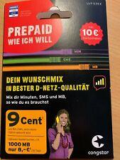 Congstar Prepaid Sim Karte DE Nummer mit ca.9,99 ? Restguthaben
