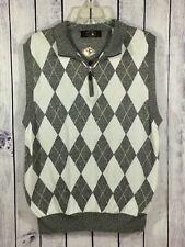 Gollf PGA Signature Collection Zip Grey Argyle Sweater Vest Pima Cotton L A7-10