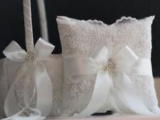 Lace Bearer Pillow Off-White Wedding Flower Lace Ring bearer Girl Basket Set