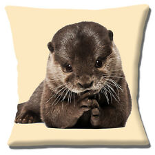 """Cute Otter Cushion Cover 16"""" 40cm Photo Print Young Animal 'Resting on Paws'"""