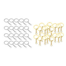 20x Split Key Chain Rings with Chain and Jump Rings Bulk for Crafts
