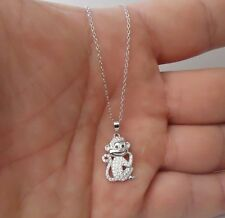 MONKEY NECKLACE PENDANT W/ .75 CT LAB DIAMONDS/ 925 STERLING SILVER/ 18'' CHAIN