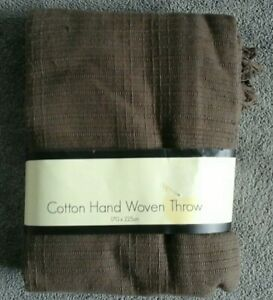 BNWT Dunelm Brown Cotton Hand Woven Throw 175cm X 225cm