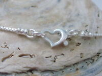 Anklet Ankle Bracelet 925 Sterling Silver Dainty Sparkling Box Chain Heart Clasp