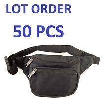 New Black Waist Fanny Pack Belt Bag Pouch Travel Sport Purse Mens Womens 50 LOT