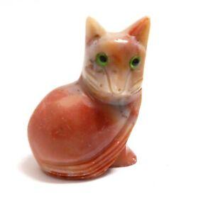 chat en stéatite miniature de collection, cat, poes,chat en pierre   TP12-09
