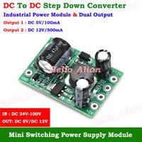 Mini DC-DC Buck Step Down Power Converter 24V-100V 36V 48V to 5V 12V Dual Output