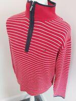 Tommy Hilfiger Zip Jumper Sweatshirt Red Stripe Large 44-46 Chest