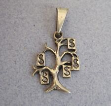 Good Luck Money Tree Etched Oxidized Mexico 925 Silver Small Charm Pendant Taxco