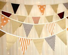 Hessian Bunting Spots Stripes Check Brown Orange Pick Your Own Length From 1m