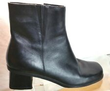 Women's MADELINE Black Leather Zip Ankle Boots Size 8.5 M Shoes