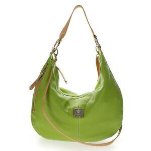 Medichi Italian Made Green Pebbled Leather Large Designer Shoulder Hobo Bag