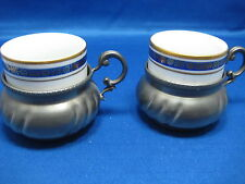 2 Antique Italy& Germany Engraved & Embossed Pewter w/Inside Porcelain Cups