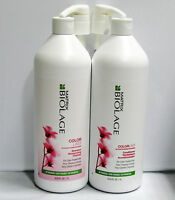 Biolage ColorLast Shampoo & Conditioner plus Pumps 33.8 oz Liter Set Duo Matrix
