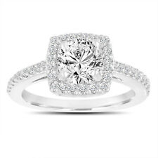 Platinum Halo Engagement Ring, Diamond Engagement, SI1 GIA Certified 1.38 Carat