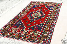 1900-1939 Antique 4'2''x7&#0 39;8' Rich Old Dyes-Multi-Colored Wool Tribal Dowry Rug