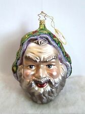 Inge's Glas Glass Ornament Merry Christmas Santa Head NIB Signed & LE (R51)