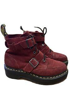 Dr Martens Masha Boots. Platform. UK Size 5. Eur 38. Real Suede Red Burgundy 80s