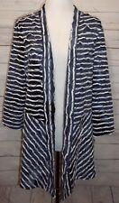 Chico's Travelers Womens Cardigan Sweater Blue White Tiered Ruffled Large sz 2